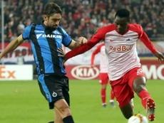 Patson Daka dans un match avec Salzburg. AFP