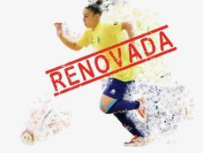 Paula Carvajal amplió su vínculo con el Preconte Telde. Twitter/Teldeportivo