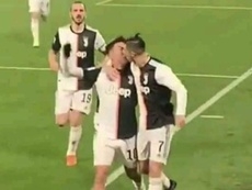 The pair celebrated together. Screenshot/DAZN