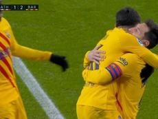Messi made it 1-2 after another error from Unai. Screenshot/MovistarLaLiga