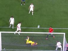 El guardameta evitó el 1-0. Captura/TVE