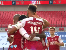 Aubameyang levelled for Arsenal. Screenshot/DAZN