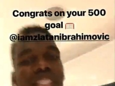 Pogba felicitó a Ibrahimovic por su gol 500. Captura/PaulPogba