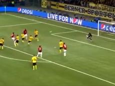 Pogba's long range strike against Young Boys. Captura BT Sport
