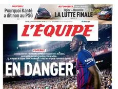 Dembélé estampa a capa do 'L'Équipe'. LÉquipe'