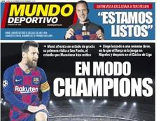 Capa do Mundo Deportivo de 24-02-2020. MD