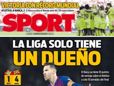 Capa do jornal 'Sport' de 18-03-19. Sport