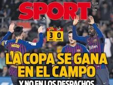Une de Sport 18-01-19. Sport