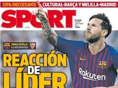 Capa do jornal 'Sport' de 20-10-18. Sport