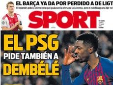 La Une de 'Sport' du 27/06/2019. Sport