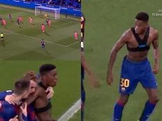 Ilaix Moriba anotó su primer gol con el Barça B. Captura/BarçaTV