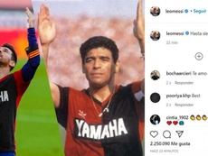 Leo Messi dedicated his goal to Maradona. Instagram/leomessi