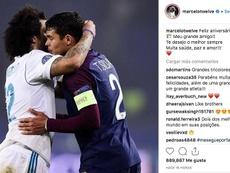 La publication de Marcelo pour Thiago Silva. Instagram/Marcelotwelve
