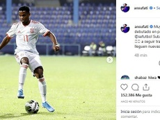 Le message d'Ansu Fati sur les RS. Instagram/ansufati