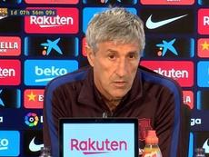 Quique Setién était en conférence de presse. Capture/BarçaTV