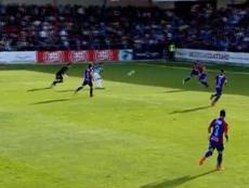 El Atlético Malagueño se adelantó por medio de Abeledo. Captura/MálagaCF