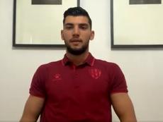 Rafa Mir concedió una entrevista telemática. Captura/Twitter/SDHuesca