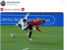Ramos is proud of his defensive tackle versus Switzerland.  Captura/Twitter/SergioRamos