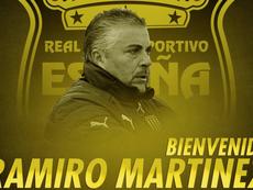 Real España hizo oficial el fichaje de Ramiro Martínez como nuevo entrenador. Twitter/rcdespana
