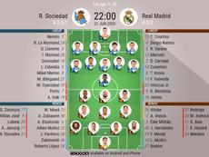 Real Sociedad v Real Madrid, La Liga 2019/20, 21/6/2020, matchday 30 - Official line-ups. BESOCCER