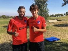 Félix e Renan Lodi já treinaram com o Atlético. Twitter/Atleti