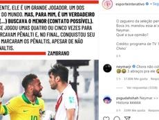 Neymar respondió a Zambrano. Instagram/EsporteInterativo