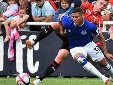 Richarlison, do Everton, durante uma partida contra o Rennes. AFP