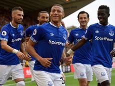 Richarlison scored twice against Wolves on debut. Twitter/Everton