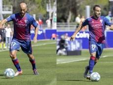 Rico y Pedro López, bajas para el próximo compromiso del Huesca. Twitter/SDHuesca