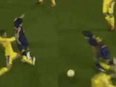 Riqui Puig y una doble entrada de miedo. Captura/FCBarcelona