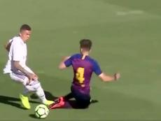 Rodrigo la lió en el 'Clásico'. Captura/BarçaTV