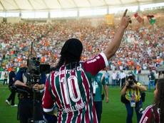 Ronaldinho, em sua apresentação como novo jogador do Fluminense. Fluminense