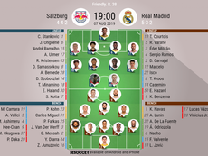 Salzburg v Real Madrid preseason club friendly official line-ups, 7/08/2019. BeSoccer
