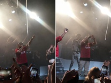 Sean Paul wore a Liverpool shirt as he stunned fans with his rendition of 'Allez Allez Allez'.