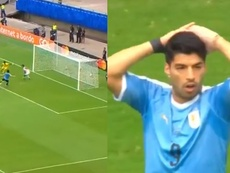 Le raté de Cavani avec l'Uruguay. Capturas/DAZN