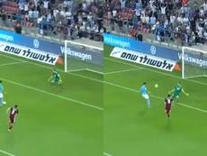 Dabbur demostró su sangre fría con una 'picadita' de escándalo. Captura/UEFA