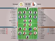Senegal v Benin, African Cup of Nations, quarter-finals, 10/7/2019 - Official line-ups. BESOCCER