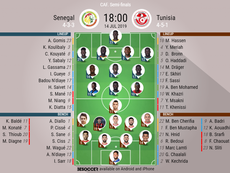 Senegal v Tunisia, Africa Cup of Nations semi-final, 14/07/19, Official Lineups. BESOCCER.