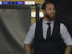 A cara de Sergio Ramos no segundo erro de Varane. Captura/Vamos