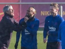 Vidal, nuevo protagonista de los rondes con Setién. Captura/BarçaTV