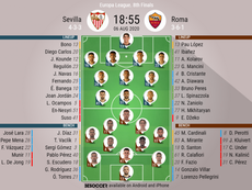 Sevilla v Roma, Europa League 2019/20, 6/8/2020, last 16 - Official line-ups. BESOCCER