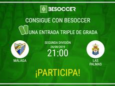 Imagen para el sorteo de una entrada para el Málaga-Las Palmas de la temporada 2019-20. BeSoccer