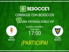 Consigue una entrada doble VIP para el Real Murcia-UCAM Murcia. BeSoccer
