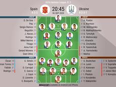 Spain v Ukraine, UEFA Nations League 2020/21, 6/9/2020, matchday 2 - Official line-ups. BESOCCER