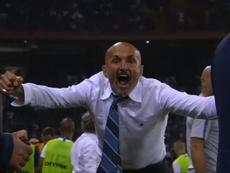 Spalletti fue expulsado tras celebrar el gol de Brozovic. Captura/ BeIN Sports