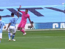 La boulette de Varane permet à City d'ouvrir le score. Capture/MovistarLigadeCampeones