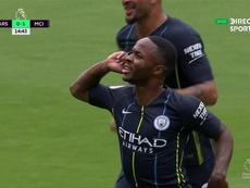 Sterling puso por delante al Manchester City. Twitter/DirecTVSports
