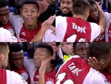 Quand Tadic colle une vilaine claque à Neres en pleine célébration. Captura/Twitter/Esp_Interativo