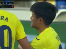 Kubo saw red for Villareal. Captura/ZVoetbal