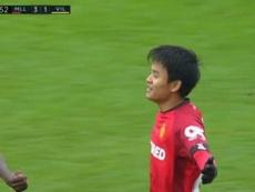 Kubo s'offre son premier but en Liga contre Villarreal. Capture/FOXSports